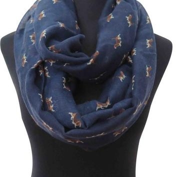 Adorable Beagle Puppy  Dog Print Womens Infinity Loop Scarf Gift for Dog Lovers