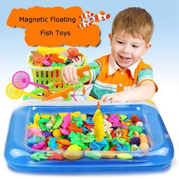 Learning Education Magnetic Fishing Toys - Tingor Newest 53 Pieces Fishing Toy Bath Magnetic Toys Waterproof Floating Fish Playsets with 2 Magnetic Rods Pool Basic Education Toy Set for Kids