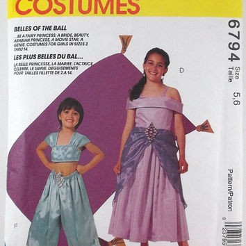 Vintage Halloween Pattern Costumes Patterns McCall's Costumes 6794 Girls' Costumes Destash Commercial Supply