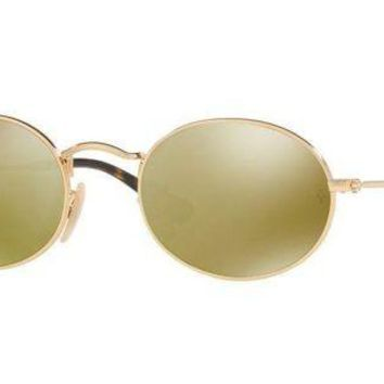 Kalete Ray Ban RB3547N 001-93 Unisex Sunglasses Oval Crystal Gold Made In Italy