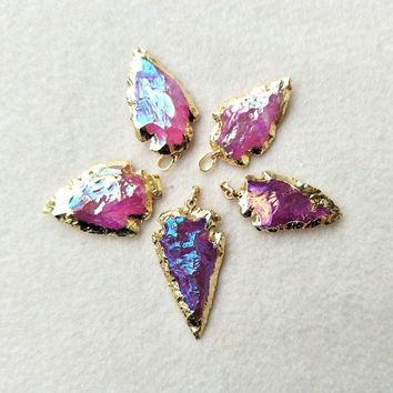 5pcs Natural Quartz Arrow Crystal Pendant,Gold color Rough hot pink Druzy Arrowheads Charm Bead Jewelry Necklace Making P359