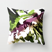 SALE, 20% OFF, Throw Pillow Cover,Green and Magenta, Jungle Flower, Indoor or Outdoor Pillow