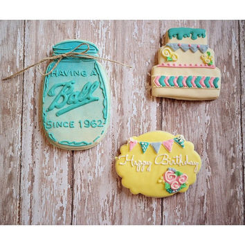 "Having a ""Ball"" Rustic Birthday Decorated Cookies- 1 Dozen"