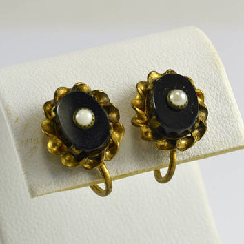 Victorian Edwardian Mourning Earrings - Seed Pearl on Onyx - Screw back Gold Tone - Gothic Mourning Jewelry