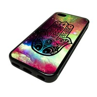 Apple iPhone 5C 5 C Case Cover Skin Hamsa Hand Vintage Nebula DESIGN BLACK RUBBER SILICONE Teen Gift Vintage Hipster Fashion Design Art Print Cell Phone Accessories