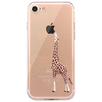iPhone 7 Case, iPhone 8 Case, JAHOLAN Amusing Whimsical Design Clear Bumper TPU Soft Case Rubber Silicone Cover for iPhone 7 / iPhone 8 - Eating Giraffe