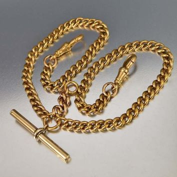 Antique Fine 18K Rolled Gold Watch Chain Necklace