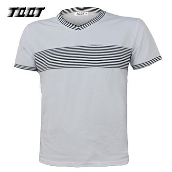 Men Tee Fashion Patchwork Tees Striped T-Shirts V-Neck T-Shirt Men Sleeves Shirt Men Regular T Shirt