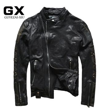 GUYEZAIXIU Factory 2016 New Men's Genuine Leather Jacket Fashion Mandarin Collar Little lamb Black tanning Sheepskin Winter Coat