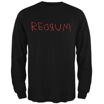 Halloween Horror Redrum Black Adult Long Sleeve T-Shirt