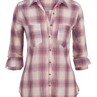 Lightweight Plaid Button Down Shirt - Multi