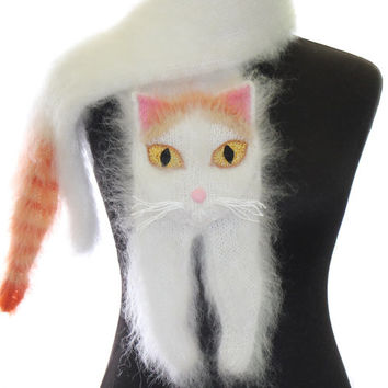 Turkish Van cat / Knitted Scarf / Fuzzy white Soft Scarf / cat scarf / knit cat scarf / white cat / animal scarf