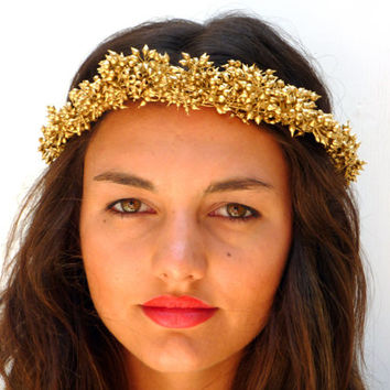 Golden  crown, Gold Spring wedding hair accessories, Bridal headpiece, Natural berries headband