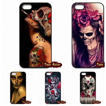 Floral Sugar Skull Tattooed Capa Case Cover For Samsung Galaxy S3 S4 S5 MINI S6 S7 Edge Note 3 4 5 iPhone 4 4S 5S 5 5C 6 6S Plus