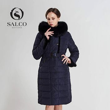 SALCO  Free shipping  In 2016, the latest ms blue fox collars warm winter mink article two color long down jacket coat
