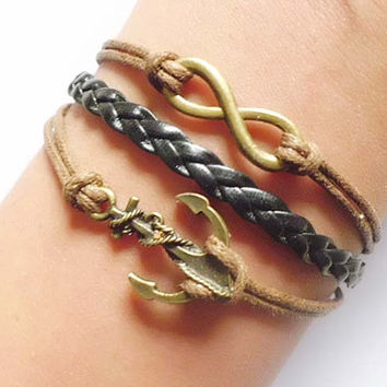 Anchor bracelet, bracelets, bracelets, infinite hope wax rope woven leather bracelet with extension of the chain