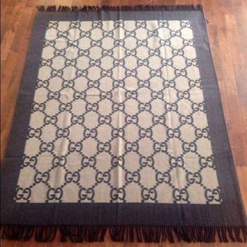 PEAPGQ6 Beautiful NEW Authentic Gucci Cashmere Wool Blanket Throw Brown Made in Italy