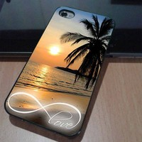 iPhone 4/4s case also iPhone 5 by order - INFINITY LOVE SUNSET BEACH
