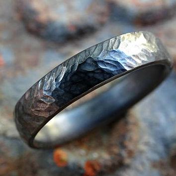 silver wedding ring men, matching wedding rings, engagement ring mens tire tread ring, chevron ring silver, forged ring man wedding band