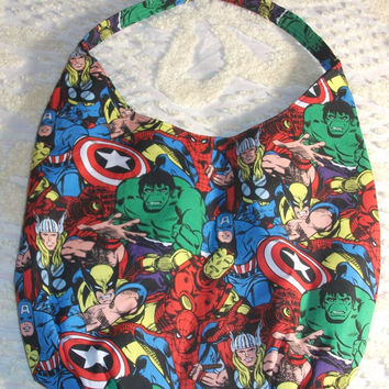 Marvel Comic Slouch / Hobo Bag    Spiderman   Hulk   Thor   Captain America   Iron Man    Wolverine