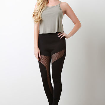 Fishnet Mesh Inner Panel High-Waisted Leggings