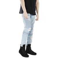 Indie Designs Balmain Inspired Distressed Biker Jeans