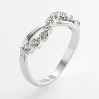 Silver Tone Cubic Zirconia Journey Ring (White)