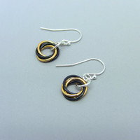 Sterling Silver Black and Gold Mobius Flower Earrings