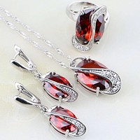 Trendy Egg Shaped 925 Sterling Silver Jewelry Sets Red Garnet White For Women Wedding Earring/Pendant/Necklace/Ring