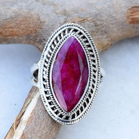 Ruby ring,  Ruby stone Ring, silver ring,  silver ruby ring, stone ring, 92.5 sterling silver,girl ring, special ring,  RNSLRB206