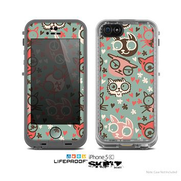 The Vector Cat Faced Collage Skin for the Apple iPhone 5c LifeProof Case