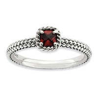 Sterling Silver & Garnet Solitaire Milgrain Band Stackable Ring