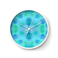 Aqua Wall Clock with Abstract Dandelions, watercolor in aqua, mint and blue