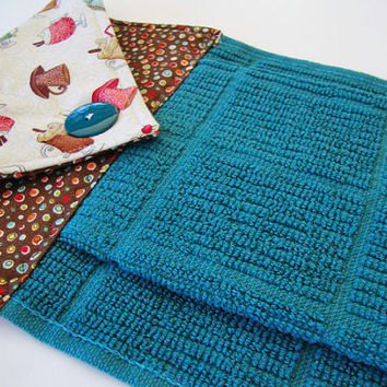 Button Top Dish Towel   Quilted Hanging Kitchen Towel   Teal Dish Towel    Custom