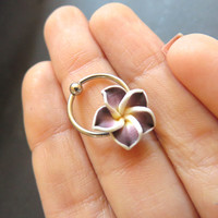 Hawaiian Flower Captive Hoop Purple Plumeria Hawaii Cartilage Ear Ring Piercing Earring Jewelry 18 16 Gauge 18g 16g G