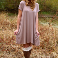 Falling In Season Dress: Taupe