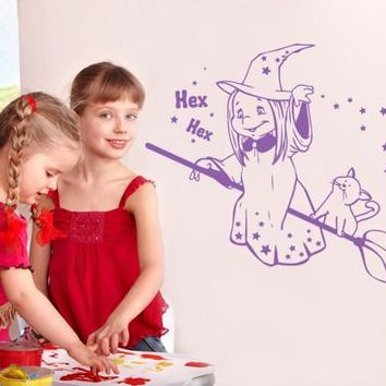 Witch with Broom Wall Decal