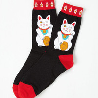 Cats Keep On Luckin' Socks Size OS by ModCloth