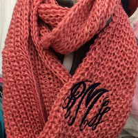 Chunky Rose Pink Infinity Scarf Monogram Font shown MASTER CIRCLE in navy
