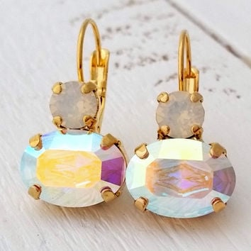Aurora borealis crystal earrings, Swarovski crystal Aurora borealis earrings, Pastel Rainbow drop earrings, Bridesmaids gift, Gold earrings