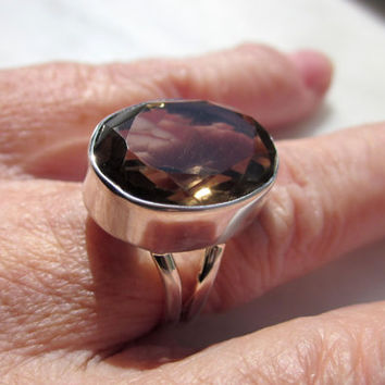 Sterling silver smoky topaz ring size 7 genuine smoky topaz rings 925 sterling rings November birthstone healing chakra gemstone CLEARANCE