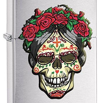 Zippo Custom Lighter: Day of the Dead Queen with Roses - Brushed Chrome