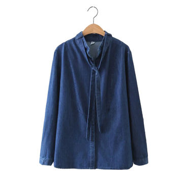 Women blue denim bow tie neck loose shirts stand collar long sleeve blouse elegant carve hem streetwear tops blusas LT1350