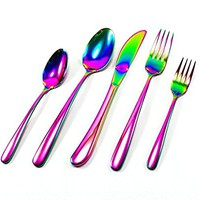 Great Spirit Iridescent Rainbow Multicolor Flatware 5-Piece Set 18/10 Stainless Steel (Service for 1)