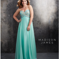Mint Plus Size Strapless Chiffon Gown