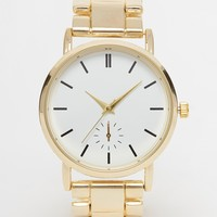 New Look Clean White Dial Gold Metal Watch