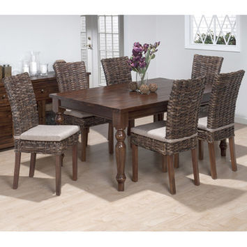 Jofran 733-66 Urban Lodge 7 Piece Rectangle Dining Room Set w/ Rattan Chairs
