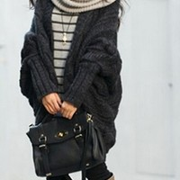 Black Long Dolman Sleeve Chunky Textured Cable Knit Open Front Cardigan Sweater