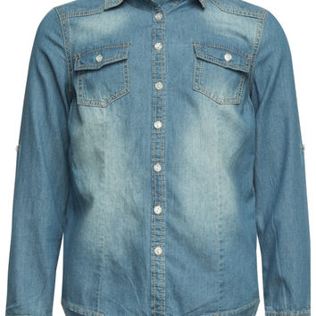 Ymi Girls Denim Shirt Medium Wash  In Sizes