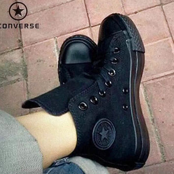 """Converse"" Fashion Canvas Flats Sneakers Sport Shoes ALL BLACK"